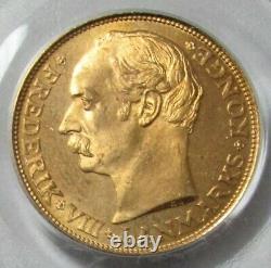 1912 Vbp Gold Denmark 8.96 Grams 20 Kroner Frederik VIII Rare Pcgs Mint State 67