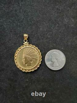 1913 Indian Head Ten Dollar Gold Coin Pendant In 14 K Gold Bezel Weights 21 Gram