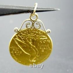 1913 U. S. $5.00 Gold Indian Coin Mounted 14k Gold As Pendant 8.7 grams