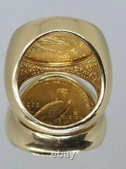 1914 $5 Indian Head Gold Coin Ring 24 Grams Size 10 26 MM Wide