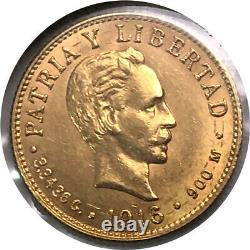 1916 2 Pesos Gold Coin Uncirculated Patria E Libertad 3.3436 Grams