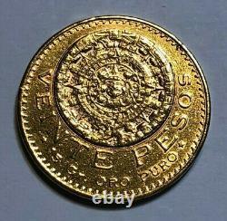 1919 Mexico Gold 20 Pesos Coin, Contains 15 grams of Fine Gold, 0.4823 AGW