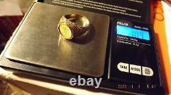 1945 Dos Pesos / size 10 1/2 11 Gold coin 1/10 gram + ring 10.9 grams
