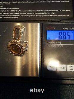 1945 MEXICAN DOS PESOS 22k GOLD COIN EARRINGS SET IN 14k Jewelry 8.85 grams