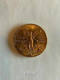 1947 50 Pesos Mexican Gold Coin, Re-strike, 1.2 Troy oz. 37.5 Grams