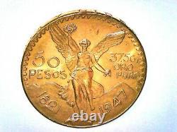 1947 Mexico 50 Pesos Libertad Gold Coin 1.2057 Ounces 37.5 Grams Of Pure Gold