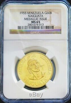 1955 Gold Venezuela 22.2 Gram Naiguata 60 Bolivares Caciques Coin Ngc Ms 65