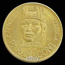 1955 Gold Venezuela 22.2 Gram Paramaconi 60 Bolivares Caciques Coin