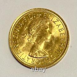 1957 Gold Sovereign, Uncirculated & Lustrous Coin. 7.98 Grams Of 22 Carat Gold