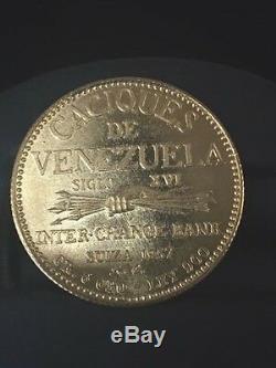 1957 Venezuela 20 Bolivars Indian Chief, Paramaconi 6gram 90% Gold Coin