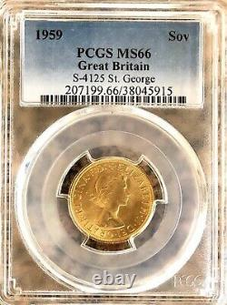 1959 Gold Sovereign Coin, PCGS High Graded MS66, 7.98 Grams Of 22 Carat Gold