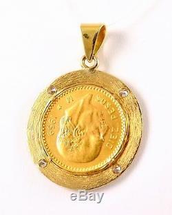 1959 Mexico 10 Peso. 900 Gold Coin in 14k Diamond Pendant Bezel 13 GRAMS