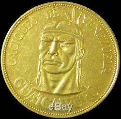 1961 Guaicaipuro Gold Caciques Indians Of Venezuela Coin Large 20 Gram 37mm