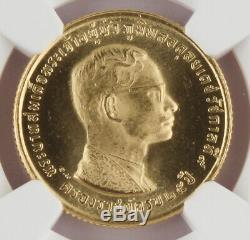 1971 BE2514 Thailand 400 Baht 9 Gram Gold Coin NGC MS65 25th Anniversary Rama IX