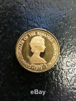 1973 $50. Bahamas Independence 22K Gold Coin 2.8 grams