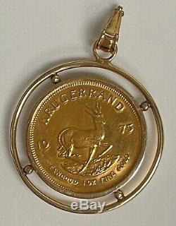 1975 1 oz South African Krugerrand Gold Coin in a 14k Gold Bezel 44.4 grams