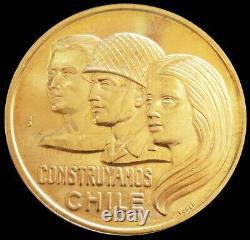 1975 Gold Chile Santiago Mint Construyamos 20.3 Gram Casa De Moneda Anniversary