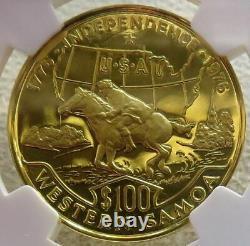 1976 Gold Samoa USA Bicentennial 100 Tala 15.55 Gram Ngc Proof 69 Ultra Cameo