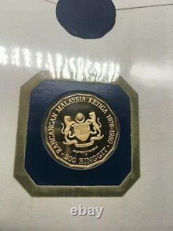 1976 Malaysia 200 Ringgit GOLD Proof withCachet 7.30 grams 900/1000 FINE GOLD