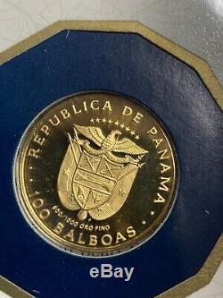 1980 Gold Panama 8.16 Grams Proof 100 Balboa Golden Condor With Coa