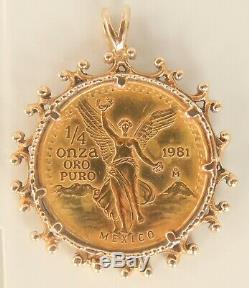 1981 Mexico Pura Oro 1/4 oz Gold Coin Pendant 14K Gold Ornate Bezel 13.30 grams