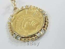 1986 Gold $5 Statue of Liberty Coin Diamond Bezel Frame Pendant 13grams. 39tcw