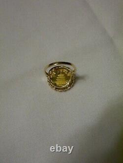 1990 GOLD COIN, 5 YUAN CHINESE PANDA 14K RING. 999 1/20 OZ. Au. 4 GRAMS