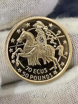 1991 Gold Gibraltar 6.12 Grams Proof 70 Ecus 50 Pounds Coin Jousting Knight Coin