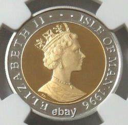 1996 Gold & Platinum 7.7 Gram Isle Of Man 1/4 Crown Camelot Castle Ngc Pf 69 Uc