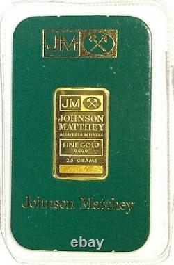 2.5 GRAM JM JOHNSON MATTHEY 24k GOLD BAR Rare Green Package # 005429