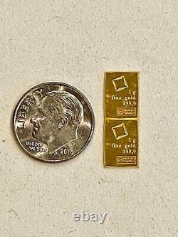 2- 999.9 Fine Gold, 1 Gram, Valcambi Bars, See Other Gold, Silver, & Coins