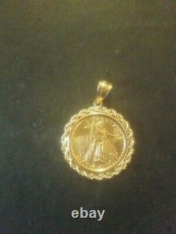 2015 1/4 oz. $10 American Gold Eagle with 14kt Gold Bezel (11.5 grams)