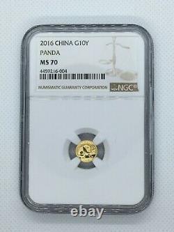 2016 China Gold Panda 10 Yuan 1 gram NGC MS70