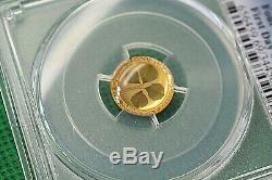 2018 Palau PCGS PR69 DCAM 1gram $1 Four-Leaf Clover Proof. 999 gold Coin withCOA