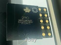 2020 25X1 Gram Canadian Mint Maplegram. 9999 Gold (in Assay) Free Shipping
