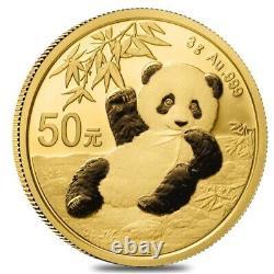 2020 3 gram Chinese Gold Panda 50 Yuan. 999 Fine BU (Sealed)