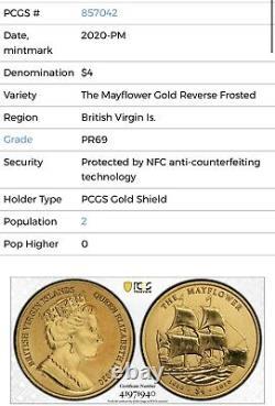 2020 BVI MAYFLOWER 400th Anniv. 5 Gram. 9999 Gold PCGS PR69 34/102