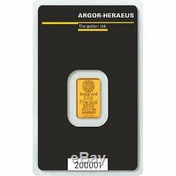 2020 Gold 2.5 Gram. 9999 Fine Argor Heraeus Switzerland Bar (New with Assay)