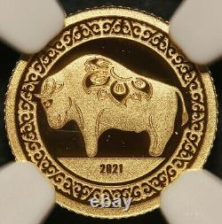 2021 Mongolia Lunar Year of the Ox 0.5 gram. 9999 Gold Proof Coin NGC PF 70