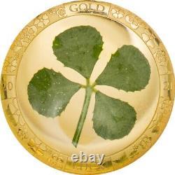 2021 Palau Four Leaf Clover 1 Gram. 9999 Gold $1 Coin Embedded Clover JJ881