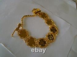 21K Gold beautiful coin bracelet, 42 grams! 21kt, 21karat 21carat 21ct