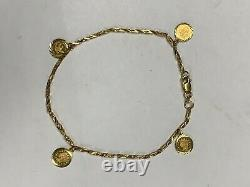 21K Yellow Gold Turkish Link Bracelet with Coin Charms 9.8 Grams