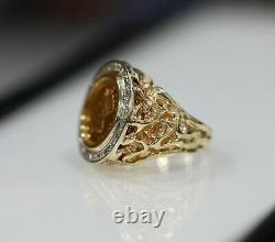 22K Coin Diamond Bezel Nugget Mens Ring 14K Gold Heavy 17 Grams Size 9,5