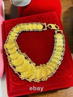 22K Yellow Saudi Gold Fine 916 Womens Coin Bracelet 7.5 Long 19mm 18.4 grams