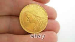 22ct Solid Gold Victorian Full Sovereign Coin Dated 1899 8 Grammes