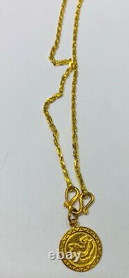24K Solid Yellow Gold Lucky Coin Pendant & Tiff Link Necklace14.87Grams(1787$)