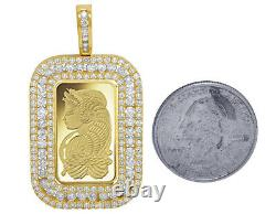 24K Yellow Gold Lady Fortuna 10 Grams Coin Diamond Frame Pendant 3.25 Ct