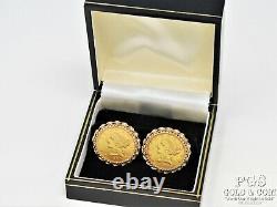 $5 Liberty Head Gold Coin Cufflinks 1880 & 1880-S 14k Gold 25.2 grams 15842