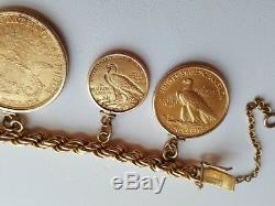 7 1/2 Fine 18k Gold Coin Bracelet Full of American Old Gold Coins 141.57 Gram