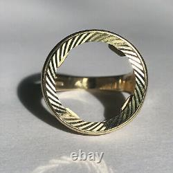 9ct Half Unique Sovereign Coin Ring Mount Size T 5.9 Grams Solid